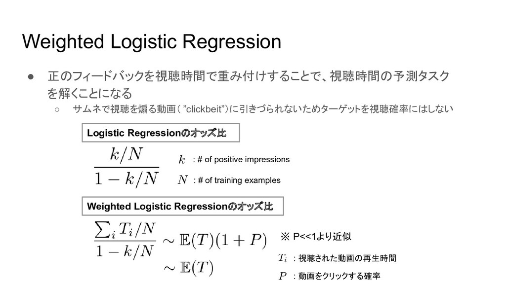 Weighted Logistic Regression ● 正のフィードバックを視聴時間で重...