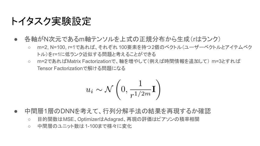 トイタスク実験設定 ● 各軸がN次元であるm軸テンソルを上式の正規分布から生成(rはランク) ...