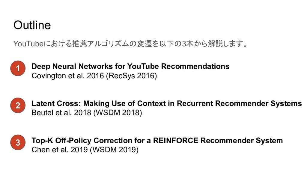 Outline YouTubeにおける推薦アルゴリズムの変遷を以下の3本から解説します。 De...
