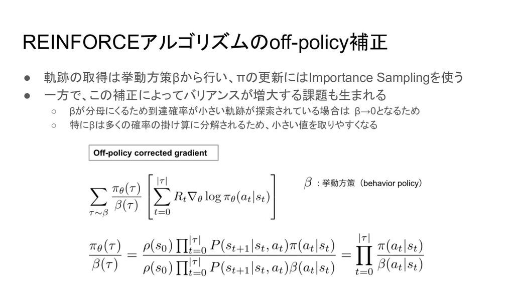 REINFORCEアルゴリズムのoff-policy補正 ● 軌跡の取得は挙動方策βから行い、...
