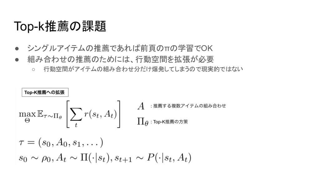 Top-k推薦の課題 ● シングルアイテムの推薦であれば前頁のπの学習でOK ● 組み合わせの...