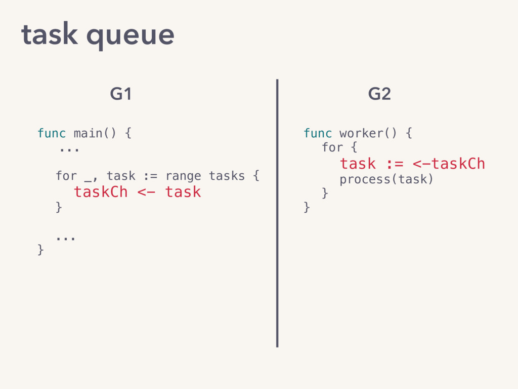 task queue func main() { ... for _, task := ran...