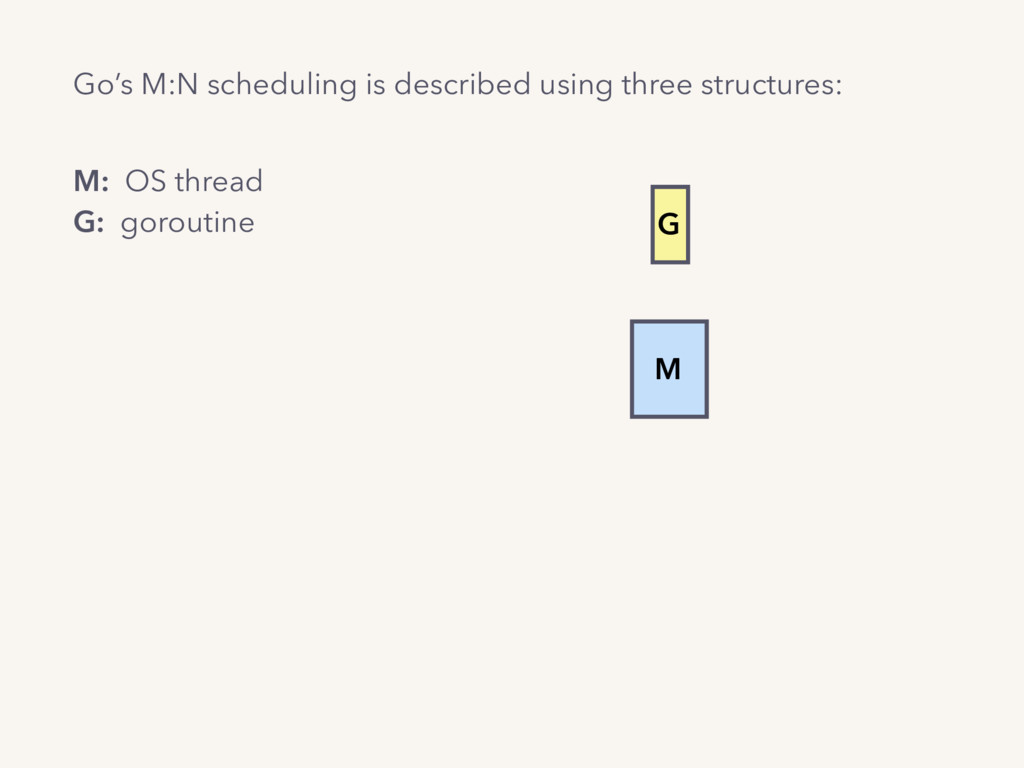 M G Go's M:N scheduling is described using thre...
