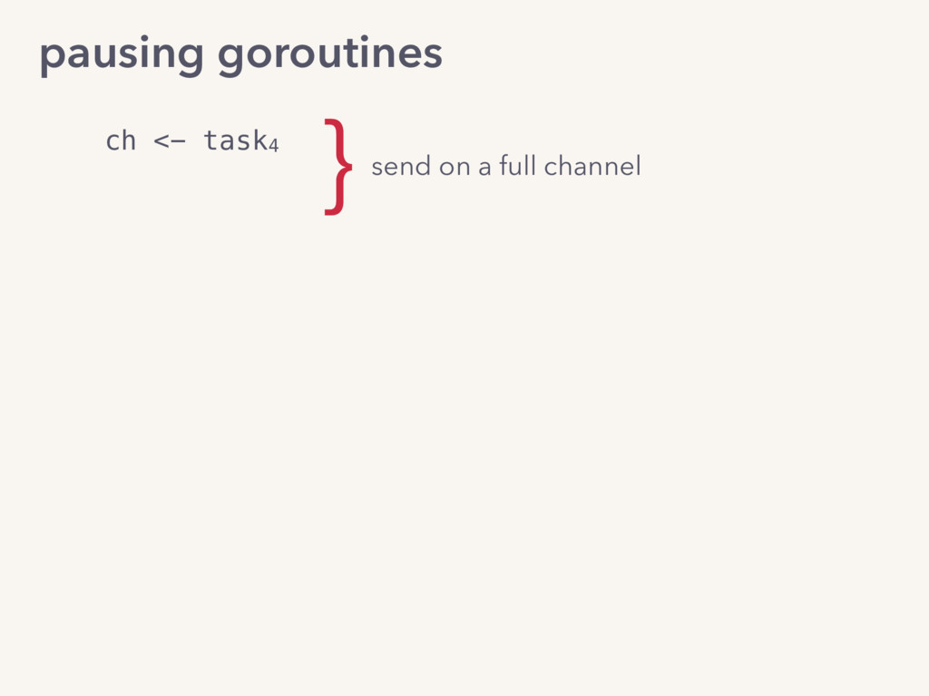pausing goroutines ch <- task4 send on a full c...