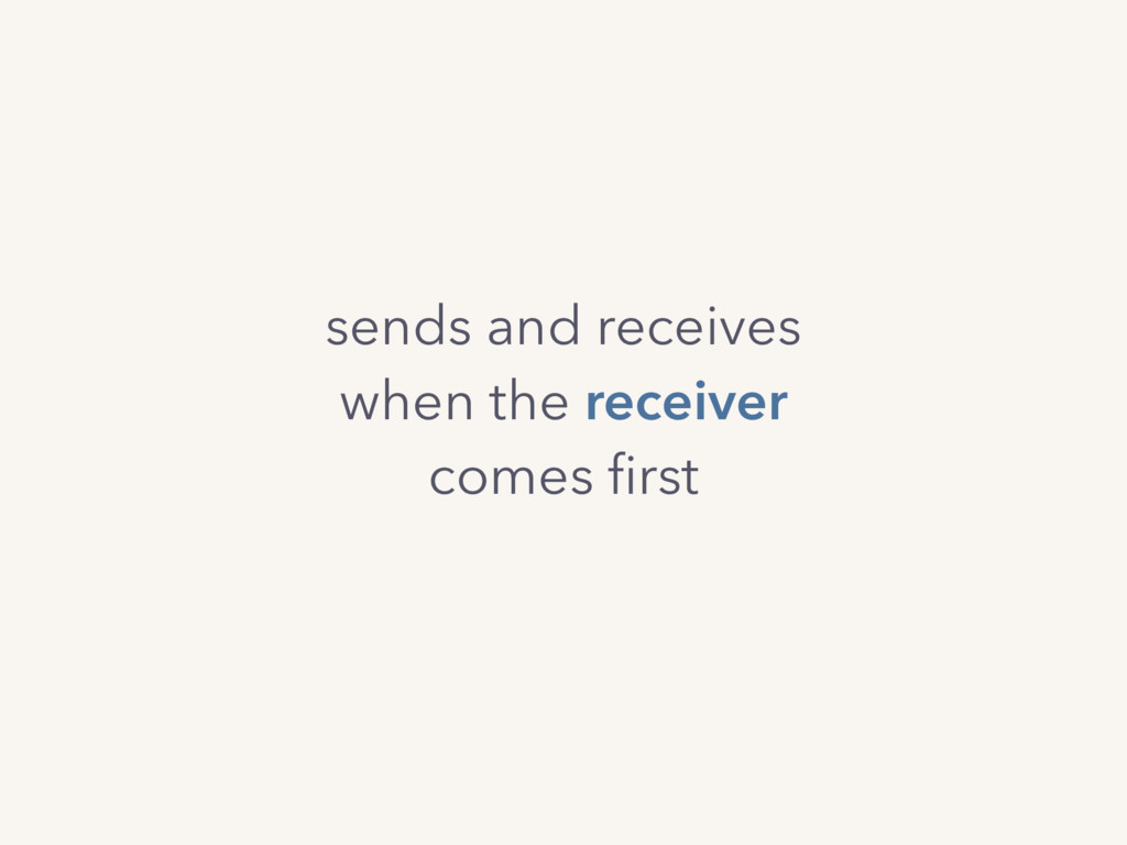 sends and receives when the receiver comes first