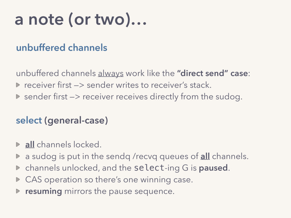 a note (or two)… unbuffered channels