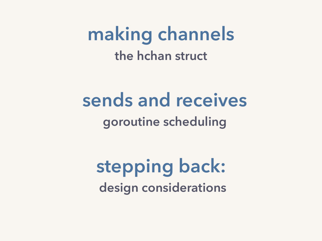 making channels the hchan struct stepping back:...
