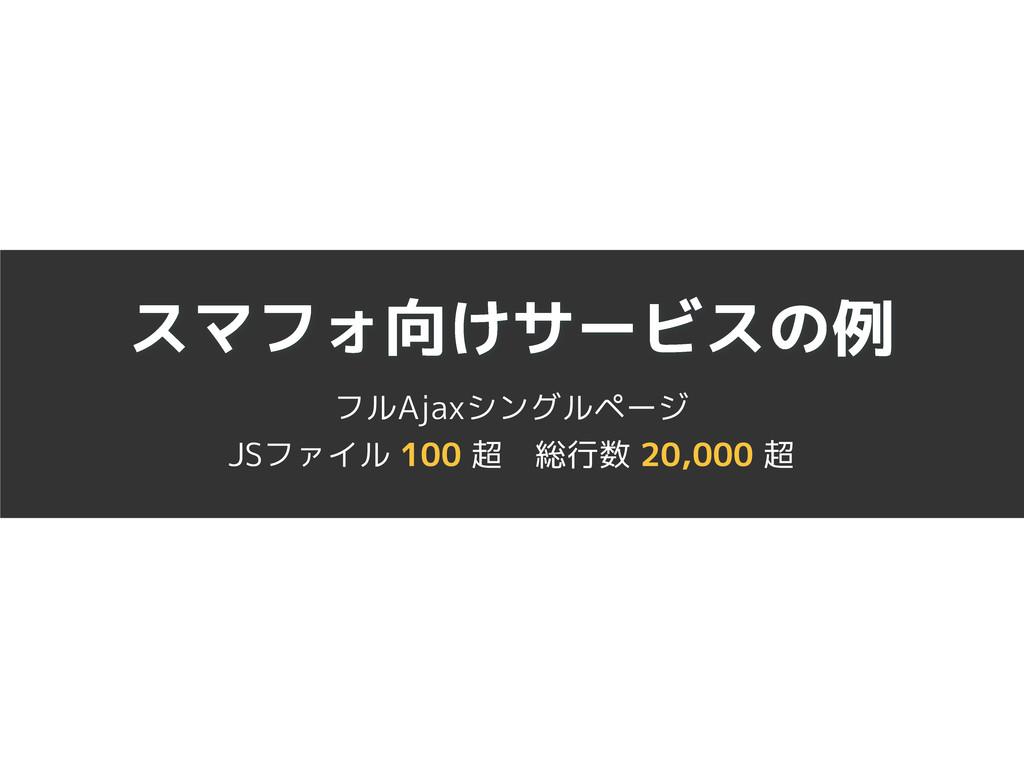 スマフォ向けサービスの例 フルAjaxシングルページ JSファイル 100 超 総行数 20,...