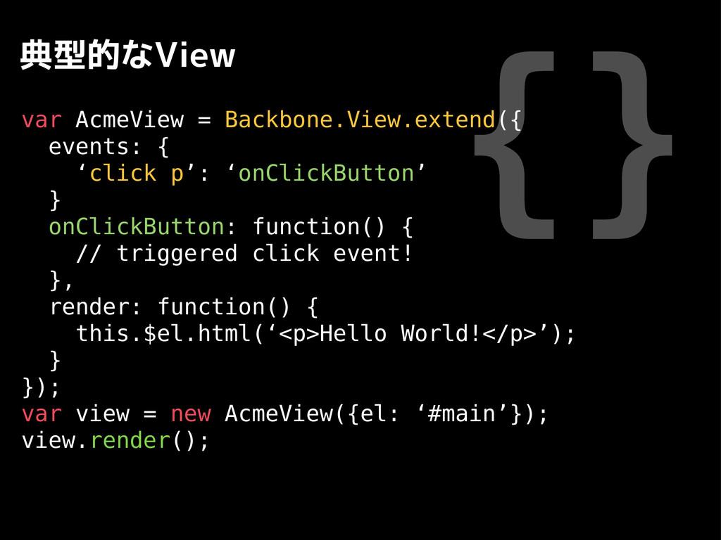 {} 典型的なView var AcmeView = Backbone.View.extend...