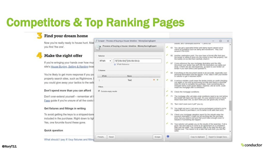 Competitors & Top Ranking Pages @RoryT11