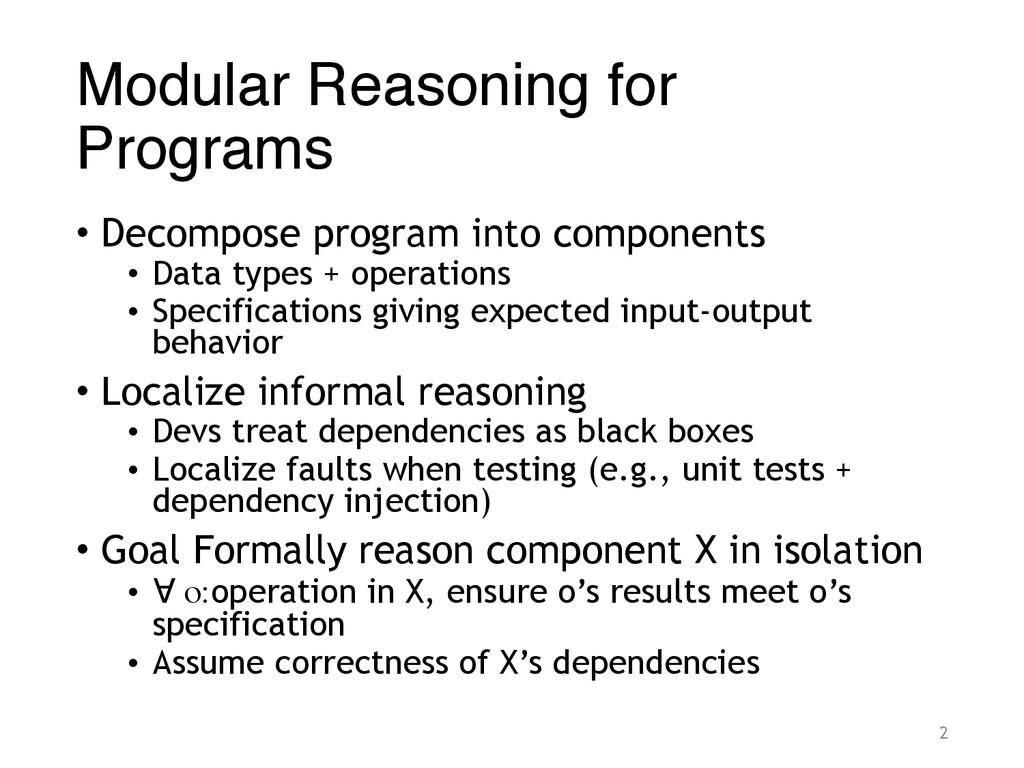 Modular Reasoning for Programs • Decompose prog...