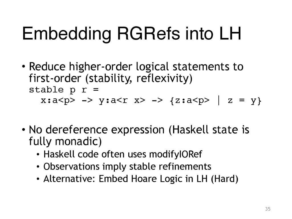 Embedding RGRefs into LH • Reduce higher-order ...