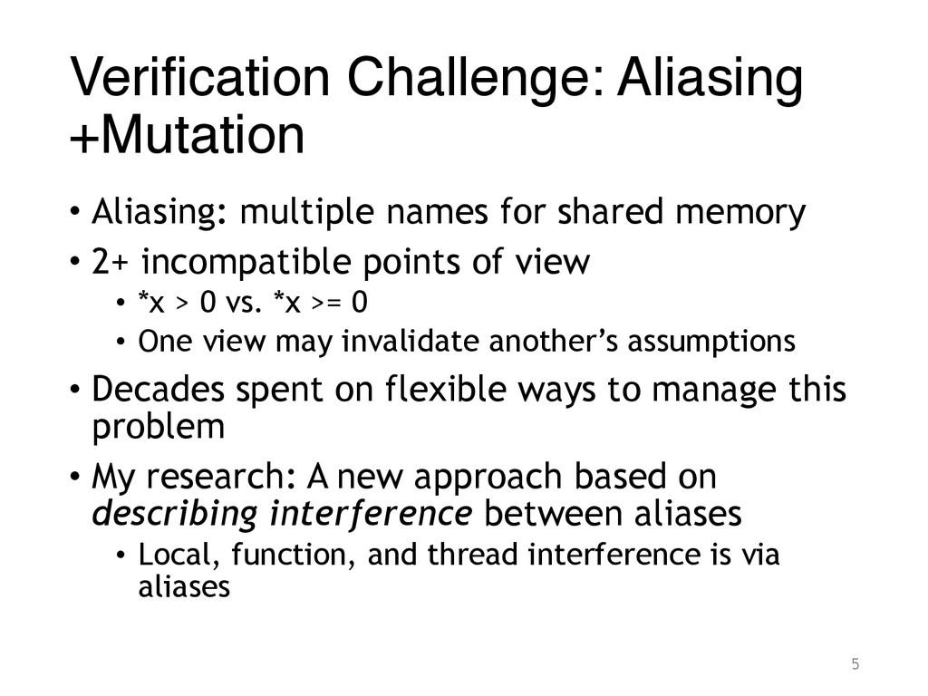 Verification Challenge: Aliasing +Mutation • Al...