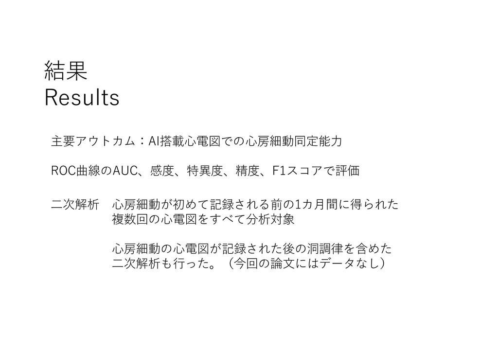 結果 Results 主要アウトカム:AI搭載⼼電図での⼼房細動同定能⼒ ROC曲線のAUC、...