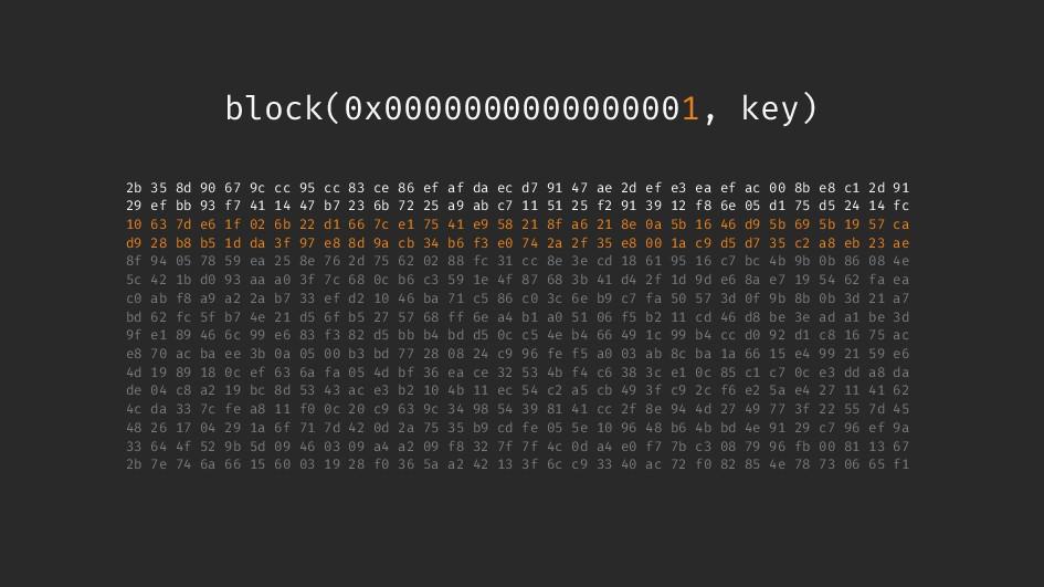 block(0x0000000000000001, key) 2b 35 8d 90 67 9...