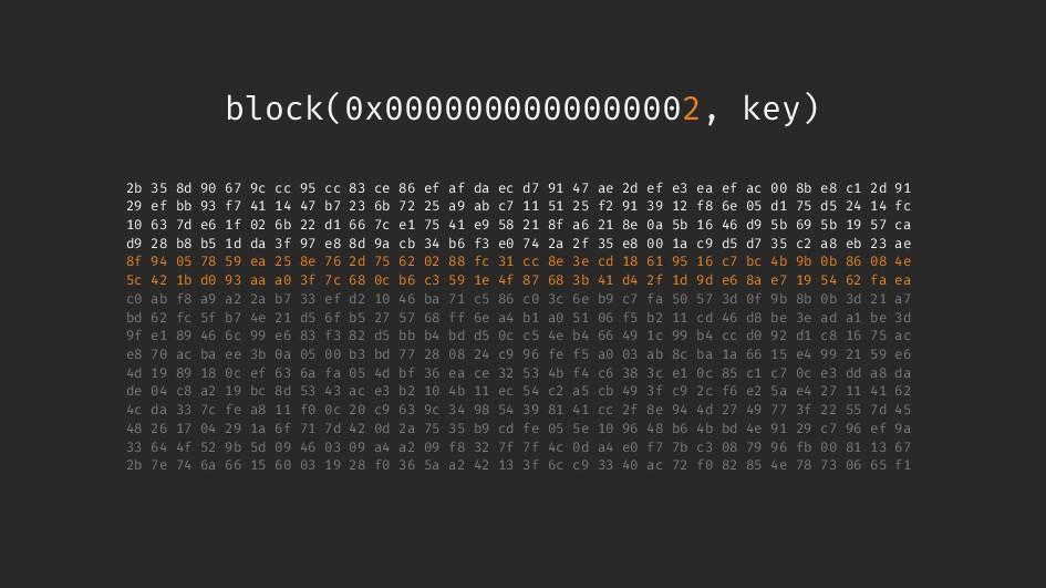 block(0x0000000000000002, key) 2b 35 8d 90 67 9...