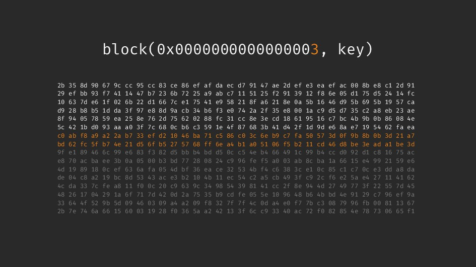 block(0x0000000000000003, key) 2b 35 8d 90 67 9...
