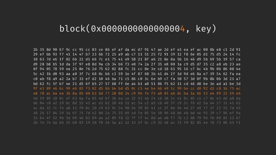 block(0x0000000000000004, key) 2b 35 8d 90 67 9...
