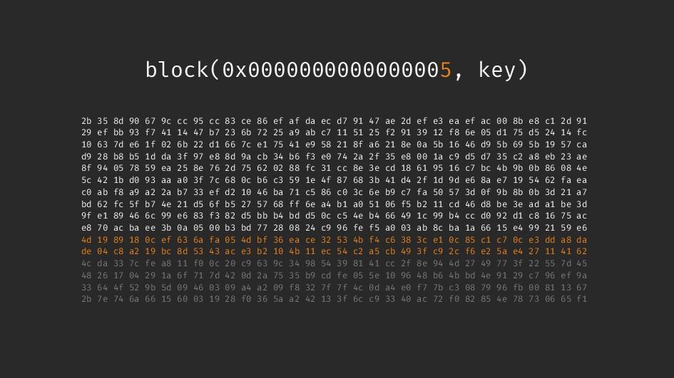 block(0x0000000000000005, key) 2b 35 8d 90 67 9...