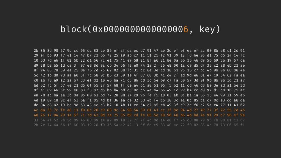 block(0x0000000000000006, key) 2b 35 8d 90 67 9...