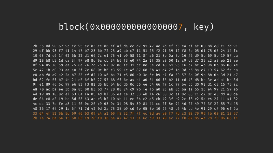 block(0x0000000000000007, key) 2b 35 8d 90 67 9...