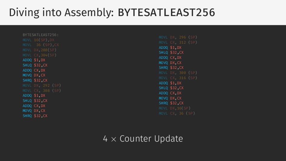 Diving into Assembly: BYTESATLEAST256 BYTESATLE...
