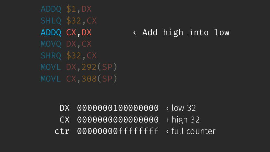 ADDQ $1,DX SHLQ $32,CX ADDQ CX,DX ‹ Add high in...