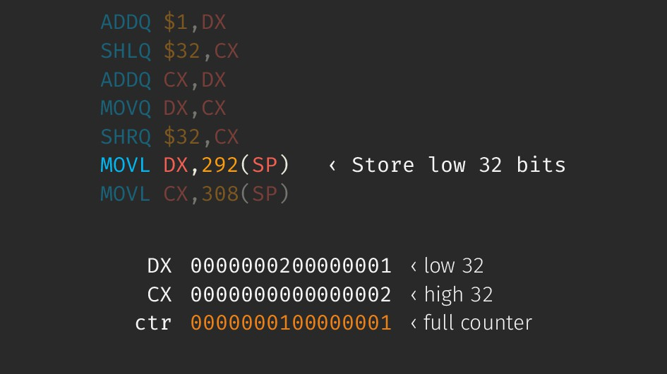 ADDQ $1,DX SHLQ $32,CX ADDQ CX,DX MOVQ DX,CX SH...