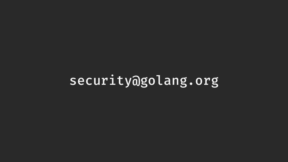 security@golang.org