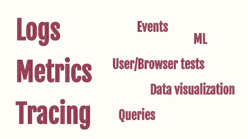 Logs Metrics Tracing Events User/Browser tests ...