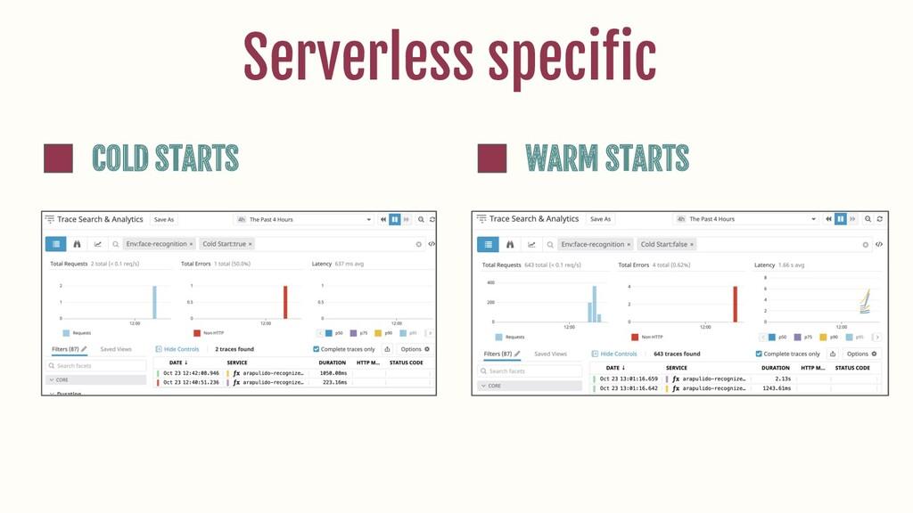 Serverless specific COLD STARTS WARM STARTS