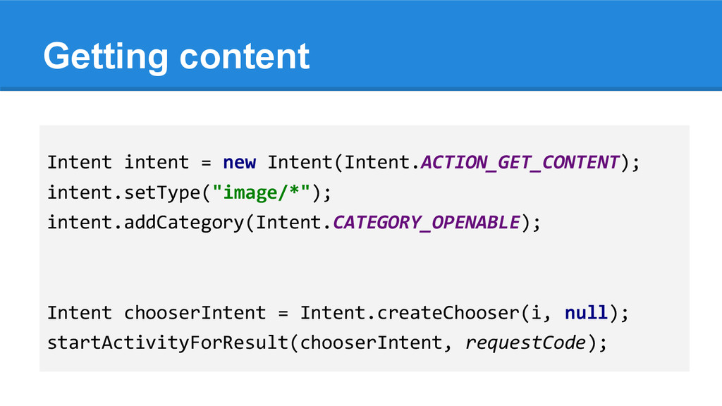 Getting content Intent intent = new Intent(Inte...