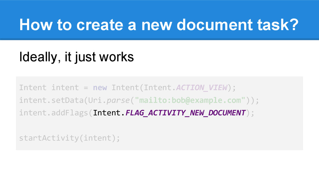 How to create a new document task? Ideally, it ...