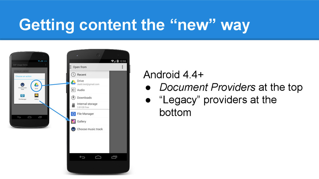 """Getting content the """"new"""" way Android 4.4+ ● Do..."""
