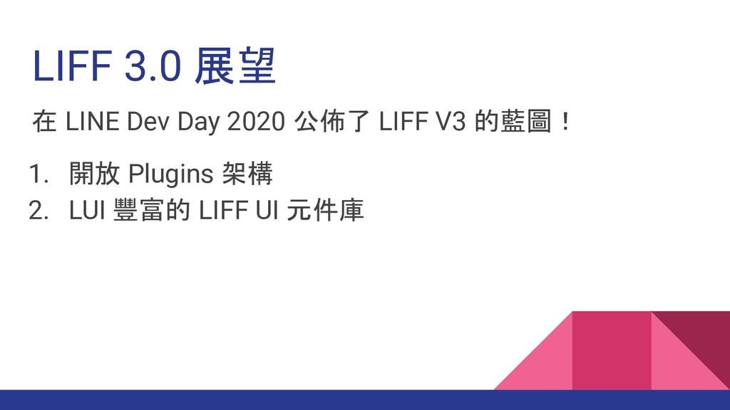 在 LINE Dev Day 2020 公佈了 LIFF V3 的藍圖! 1. 開放 Plug...