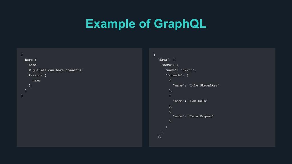 Example of GraphQL { hero { name # Queries can ...