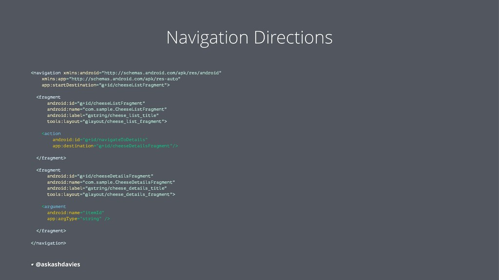 Navigation Directions <navigation xmlns:android...