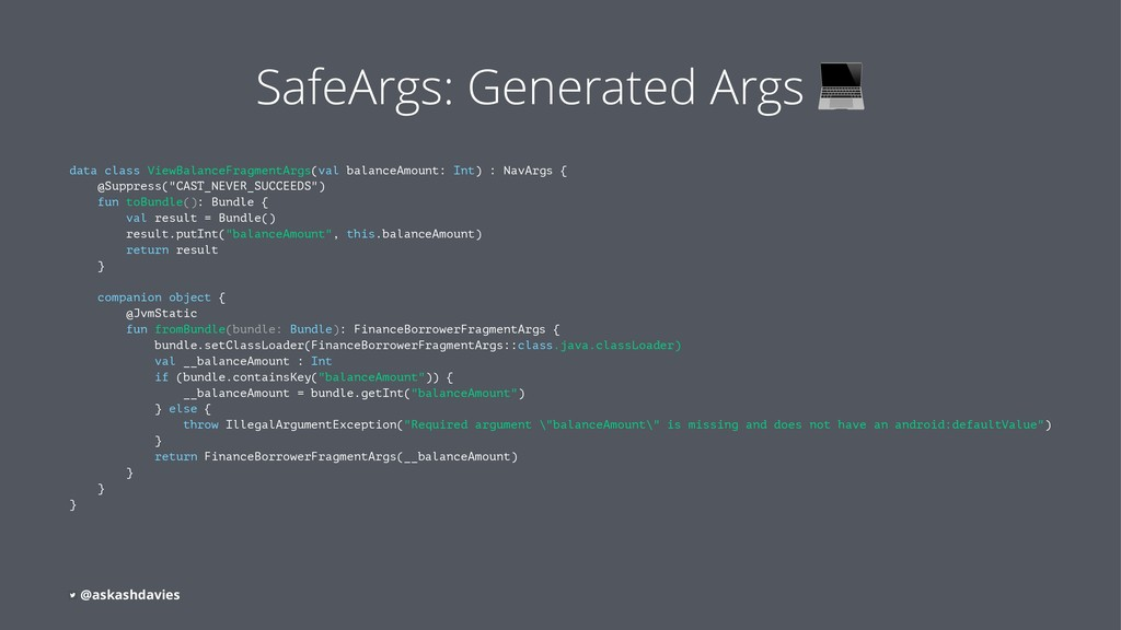 SafeArgs: Generated Args data class ViewBalance...