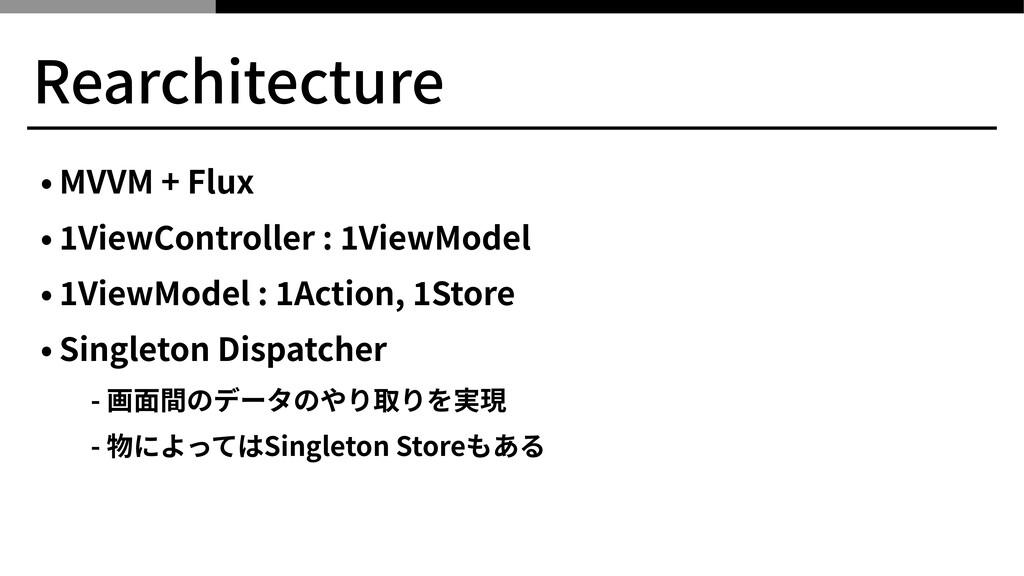 Rearchitecture • MVVM + Flux • ViewController :...