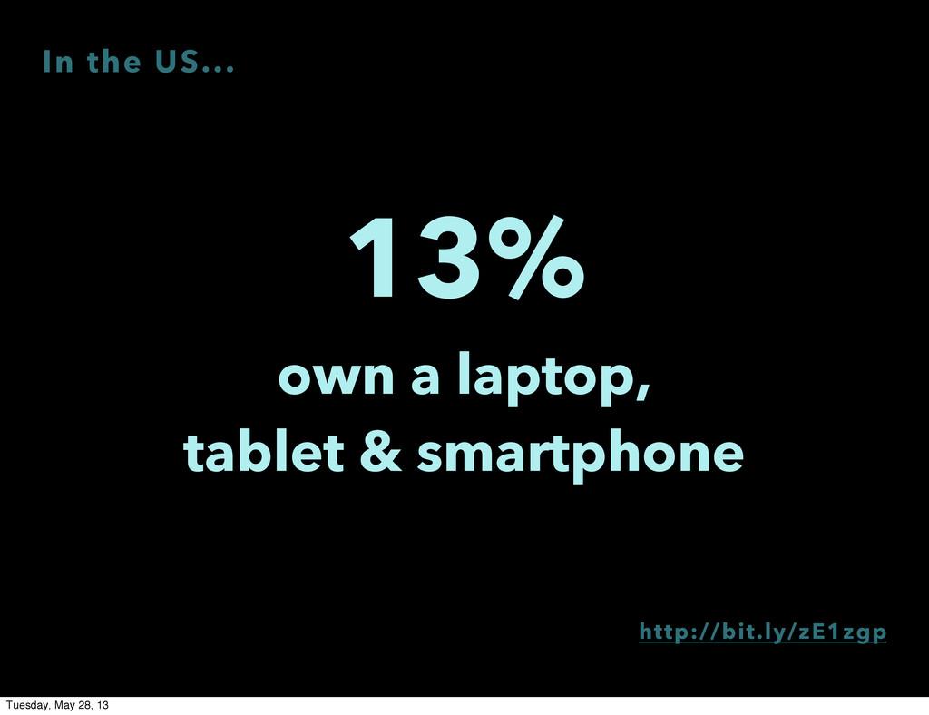 13% own a laptop, tablet & smartphone http://bi...
