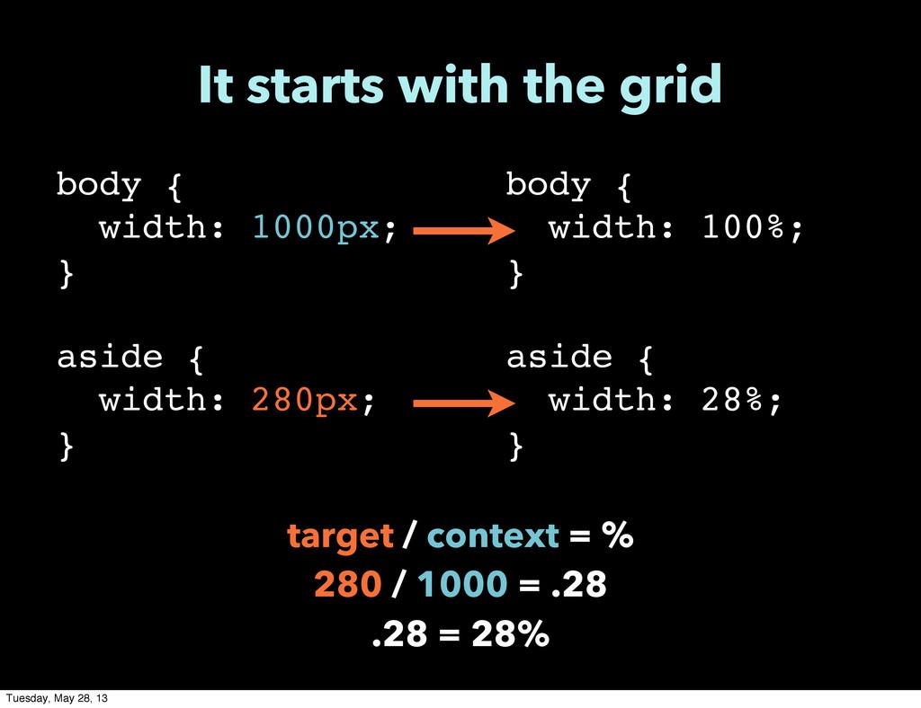 body { width: 1000px; } aside { width: 280px; }...