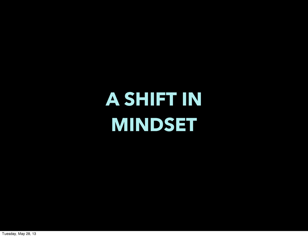A SHIFT IN MINDSET Tuesday, May 28, 13