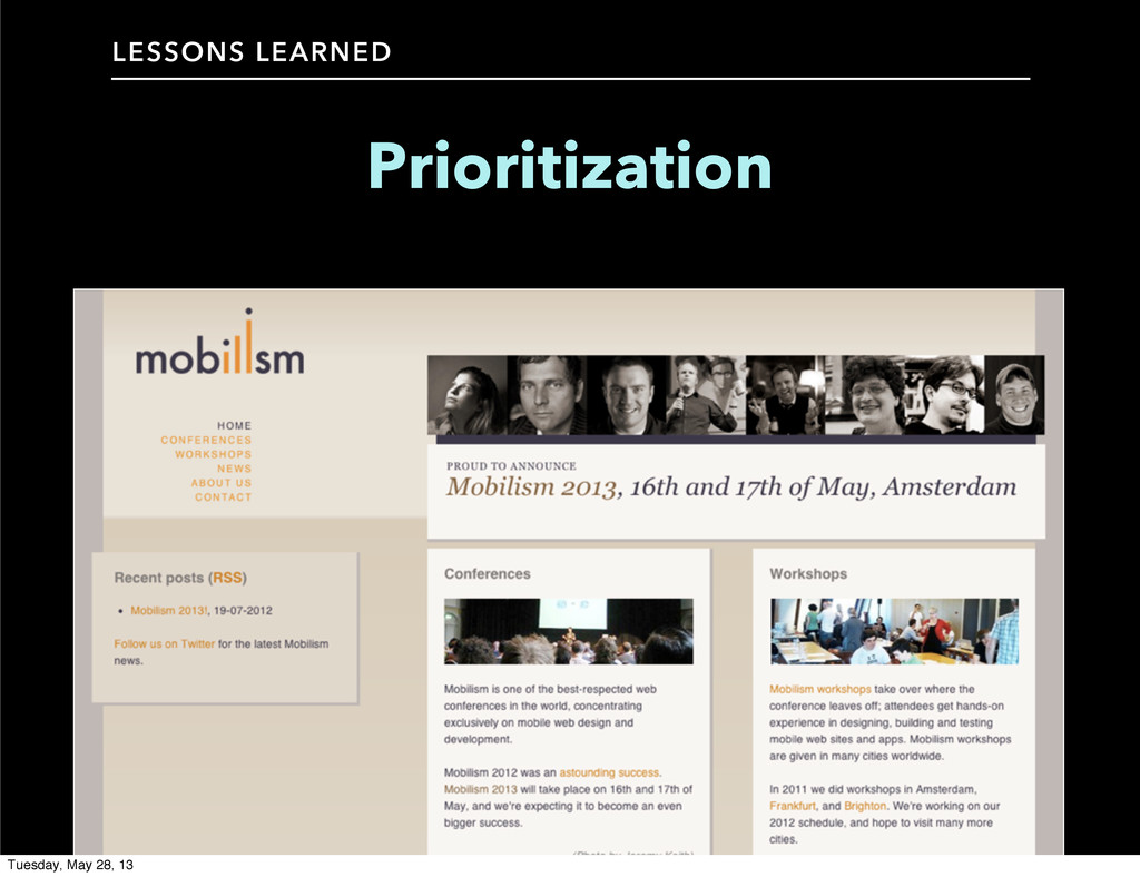 LESSONS LEARNED Prioritization Tuesday, May 28,...
