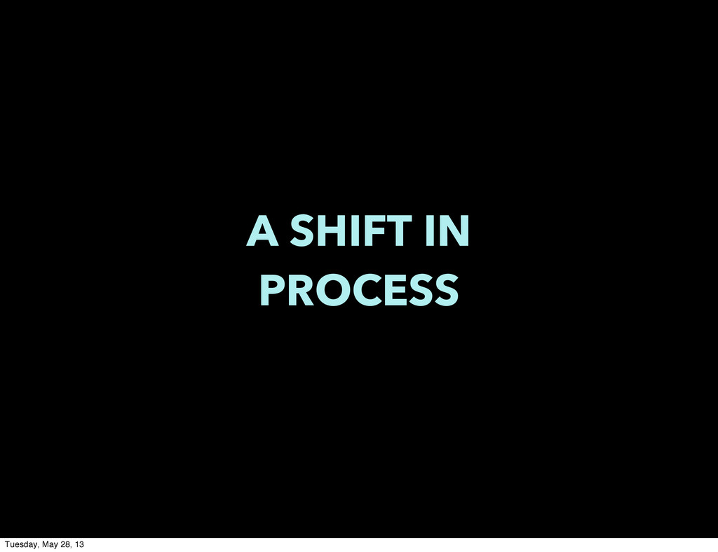 A SHIFT IN PROCESS Tuesday, May 28, 13