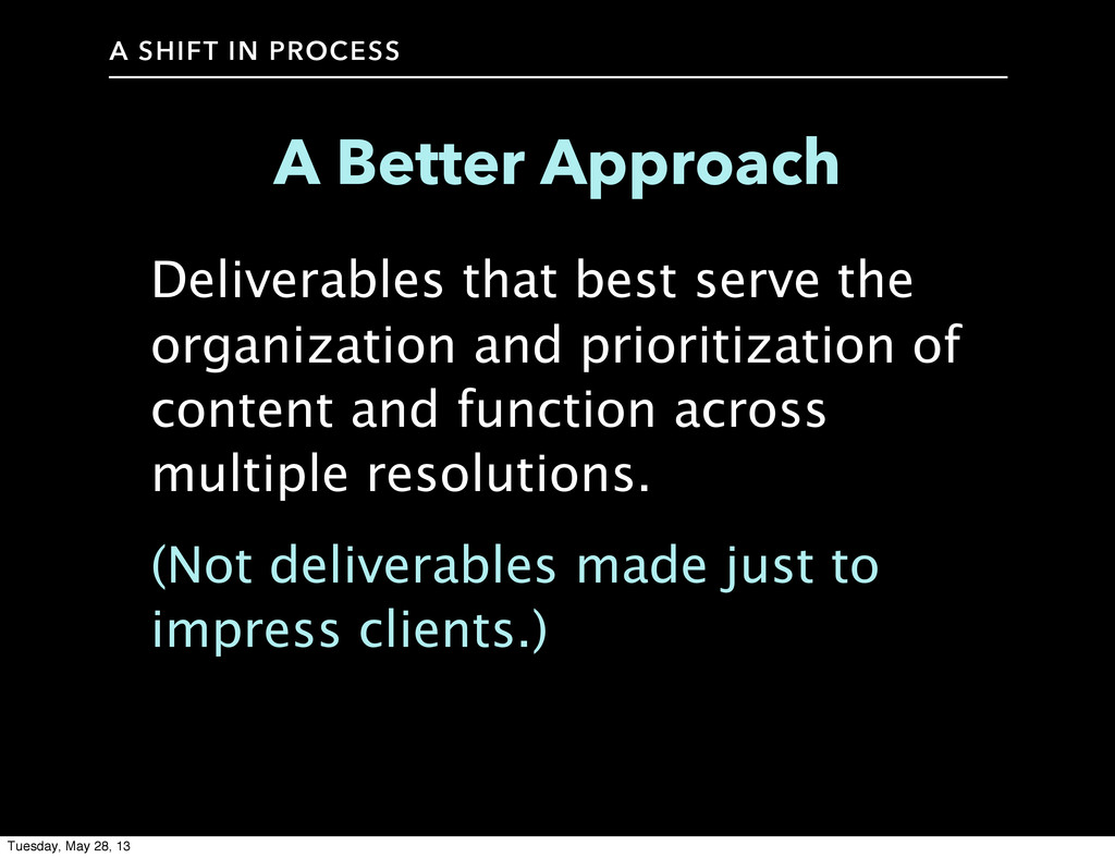 A SHIFT IN PROCESS A Better Approach Deliverabl...