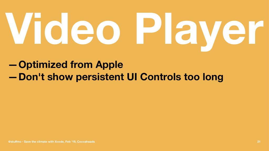 Video Player —Optimized from Apple —Don't show ...