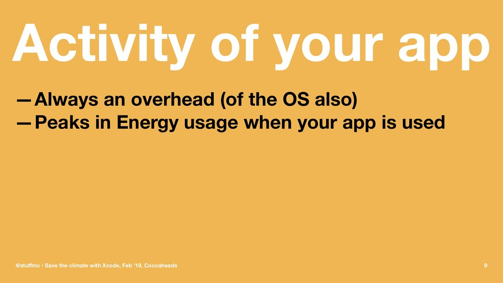 Activity of your app —Always an overhead (of th...