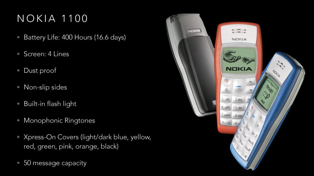 N O K I A 1 1 0 0 • Battery Life: 400 Hours (16...