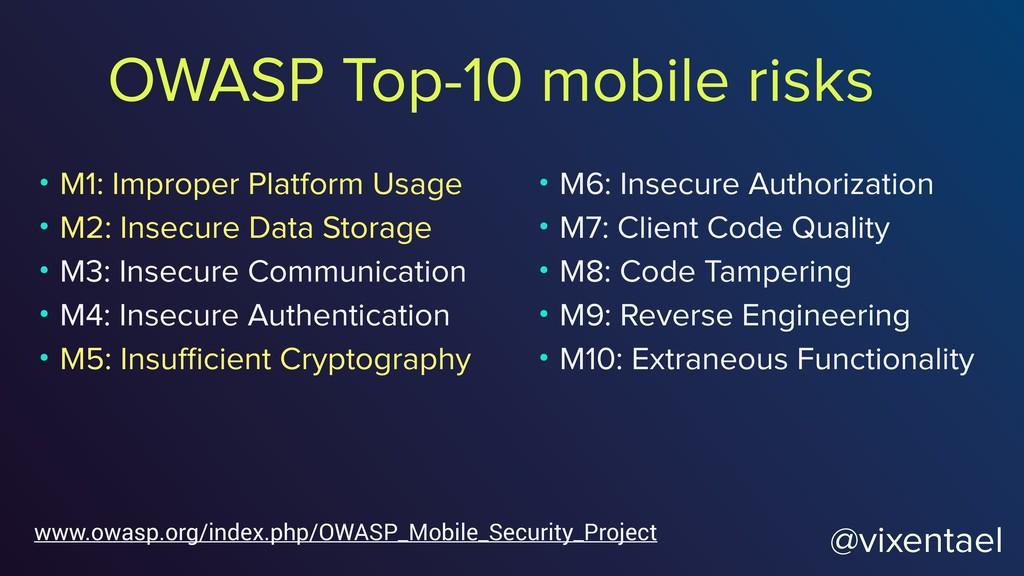 OWASP Top-10 mobile risks • M1: Improper Platfo...