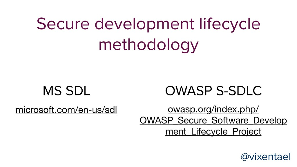 Secure development lifecycle methodology MS SDL...